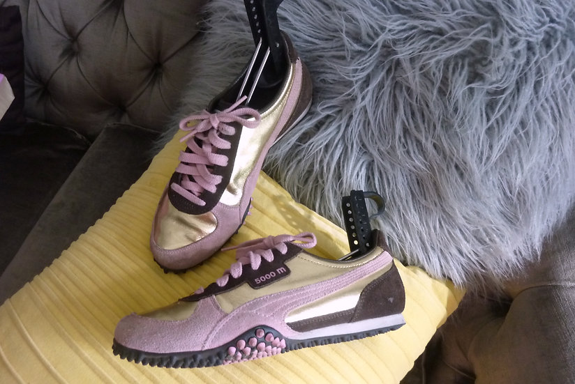 Puma pink brown and gold suede sneakers