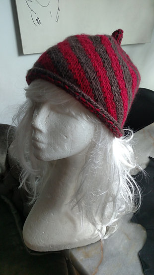 Bklyn Knits red/brown striped beanie hat