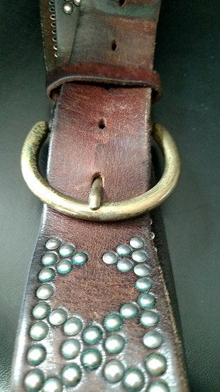 Vintage hip-hugger 70's studded belt thick leather