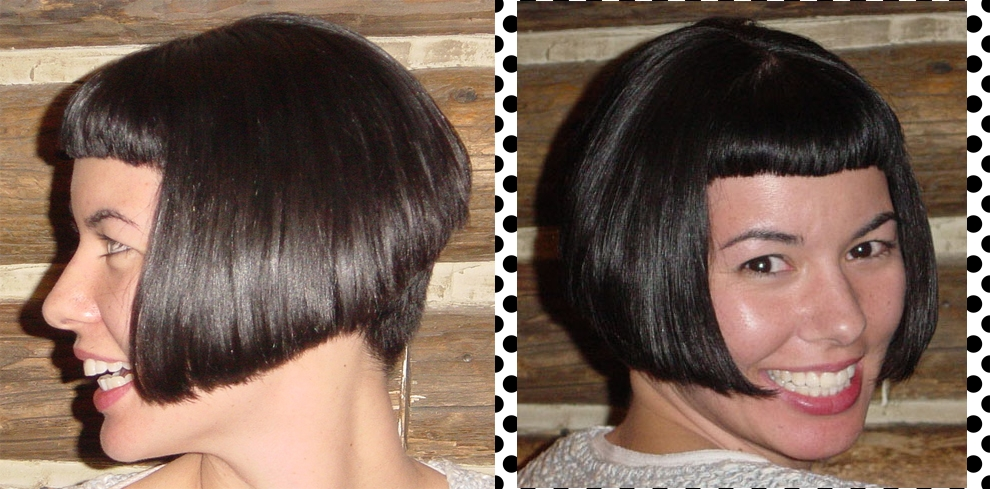 Women's graduated bob with micro bang