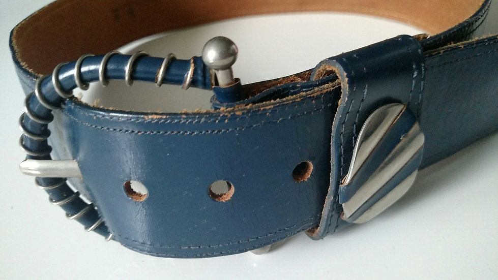 70's  blue leather belt with interesting detailing