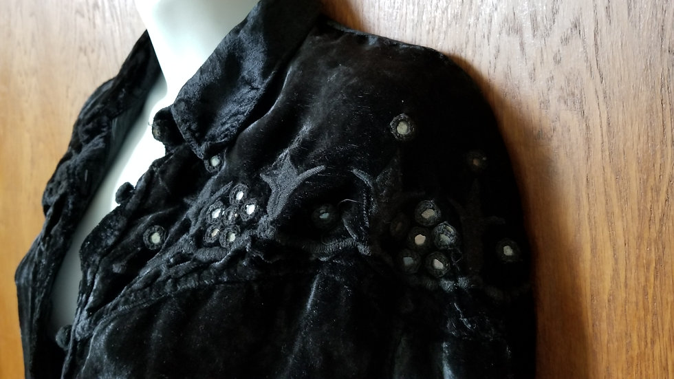 *Black velvet boho hippy buttoned up shirt