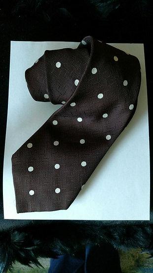 Vintage Brown tie with polka dots