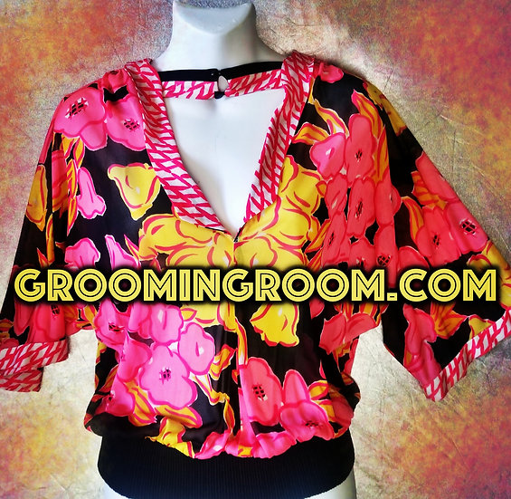 Vintage bold bright & colorful graphic blouse