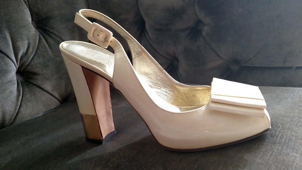 Valentino white patent leather platform shoes