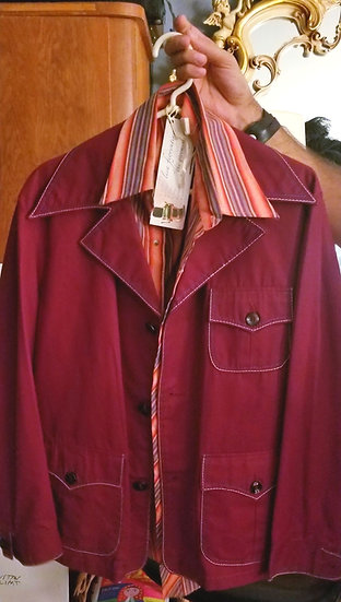 1970s Wide collar jacket and Mustang striped shirt