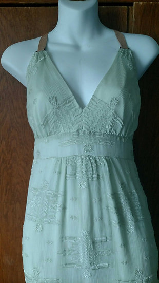 *Maxi embroidered seafoam green halter dress