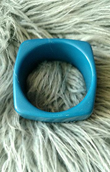 Dinosaur Designs 1980's  Australia -Blue Resin Square Bangle Bracelet