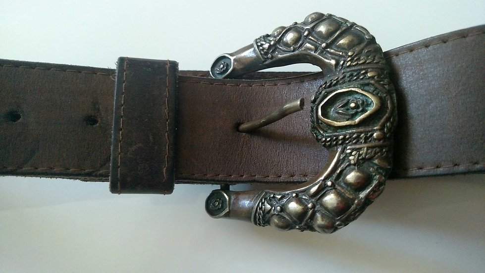 Patina Brass belt in brown leather