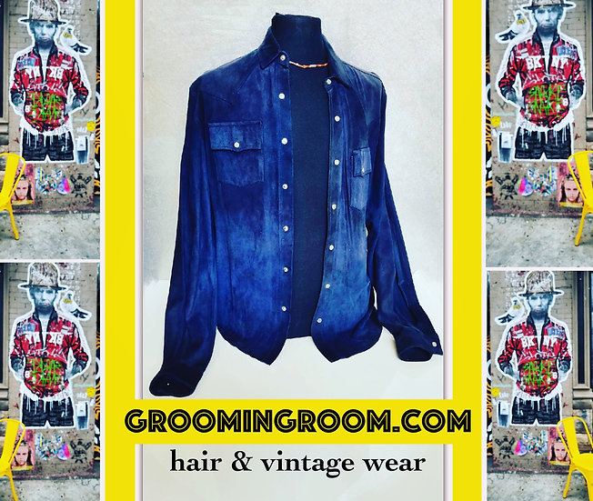 Navy blue suede button up western jacket