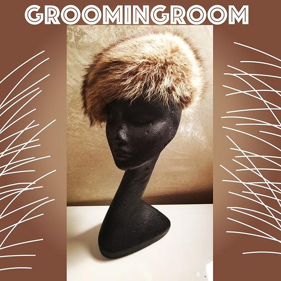 Fur Hat vintage 1950's coyote beret in multi toned brown by Nadelle Montreal