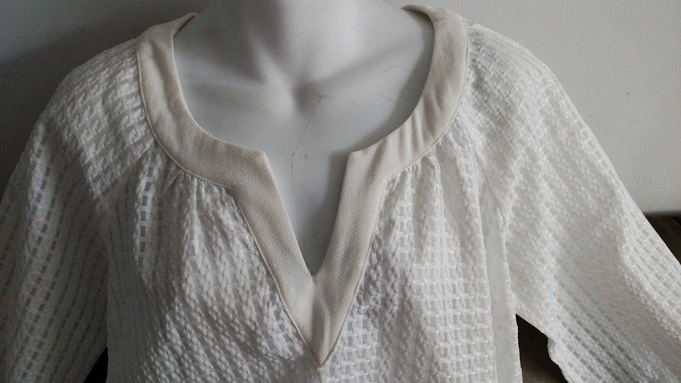 *White textured baby doll blouse