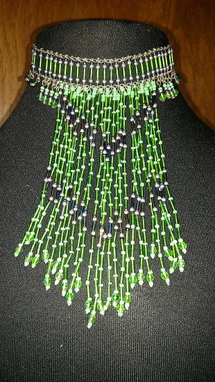 Hand beaded green and black indian fringe necklace