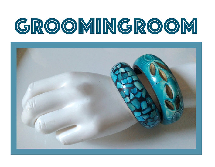set of Turquoise colored brass bangles