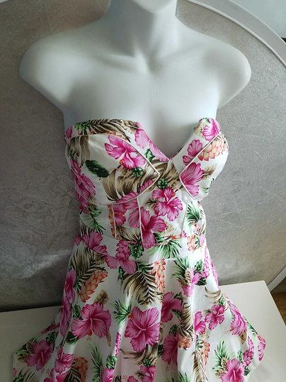 Hawaiian 90's  cotton Floral bustier dress