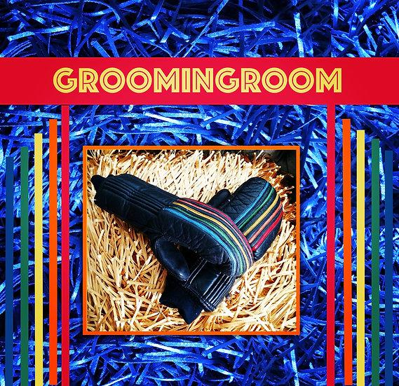 Gant rainbow design leather ski mittens