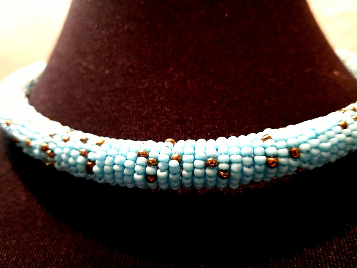 African Beaded Turquoise Choker Necklace Handcrafted authentic Ethnic Tribal