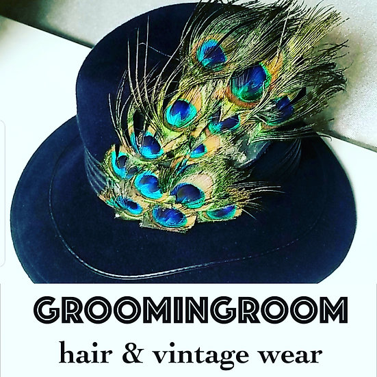 Fedora Vintage 40s style Navy Blue wool hat with peacock feather embellishment