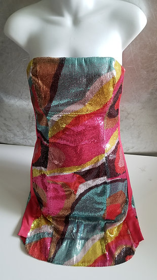 80s Sequin bright colored tube mini dress graphic sixties pattern