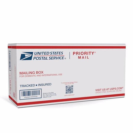 "Priority Mail Shoe Box 7 1/2""(L) x 5 1/4"" (W) x  14 7/8""(H)"