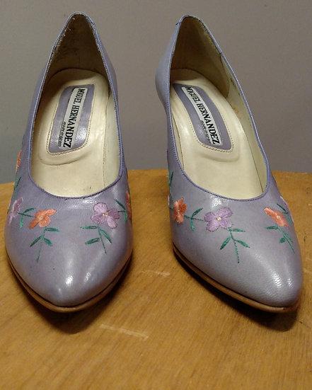 Miguel Hernandez lavender leather pumps