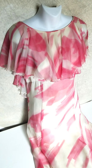 1930's jazz age lawn party dress in pink and off white chiffon