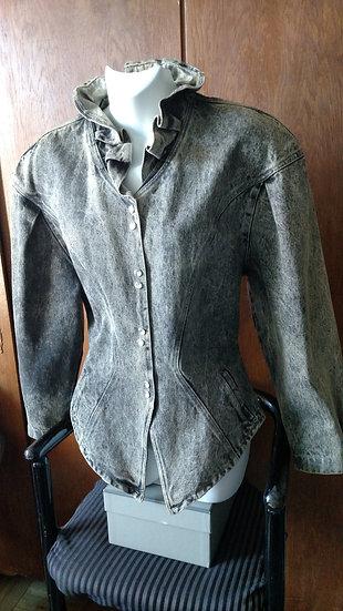 1980s Colorado Fiorentini designer peplum denim jacket