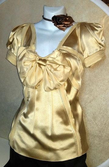 Zak Posen gold silk blouse