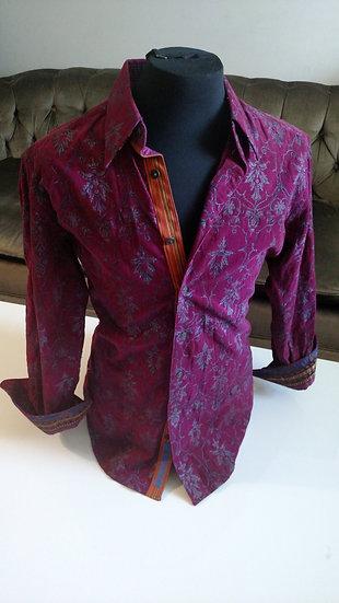 Robert Graham Burgundy courderoy embellished shirt