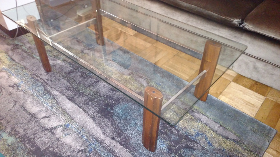 Midcentury modern glass wood coffee table