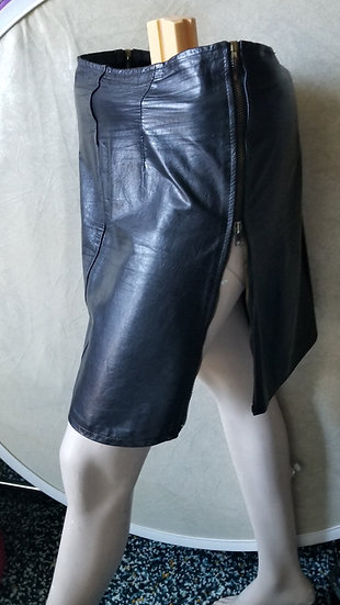 Steampunk Leather black skirt high waisted side zippers