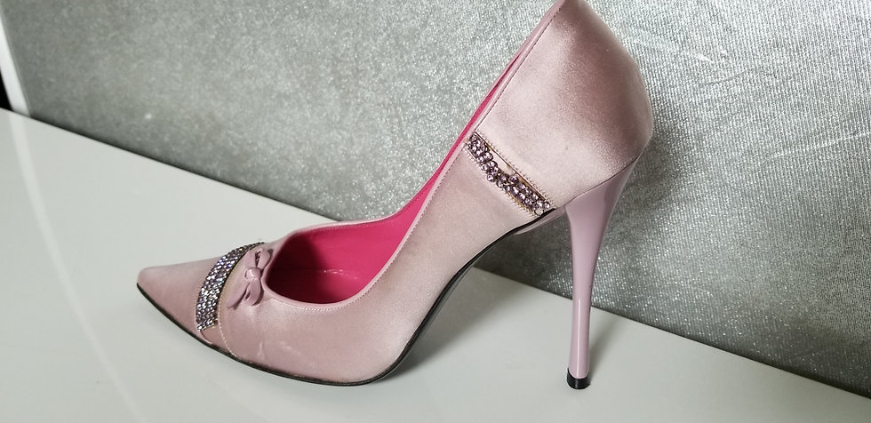 Pink silk Pumps with Rhinestones by Lerre Italy