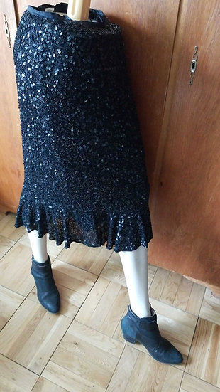 Sequin and beaded black evening flare skirt