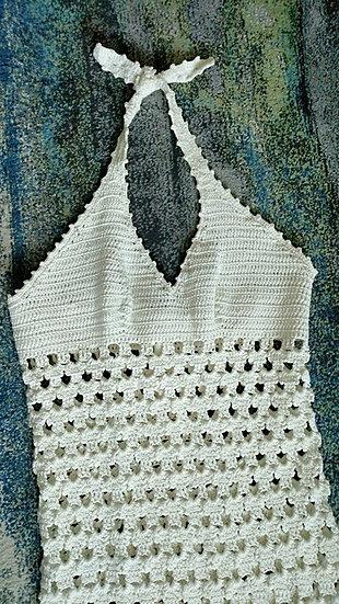 *1970's white hand knit halter maxi dress