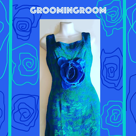 Blue and Green Brocade 50's fitted gown