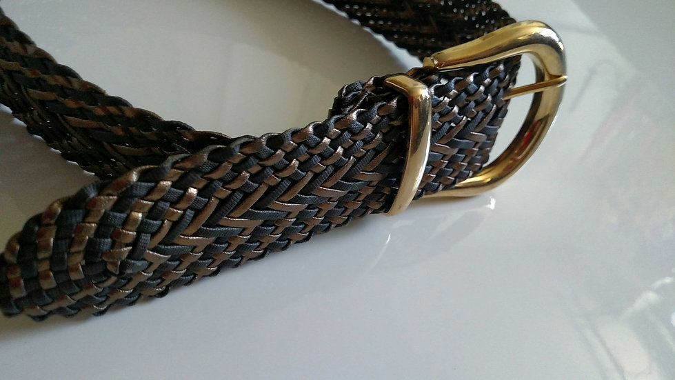 Woven multi tone belt with gold tone buckle
