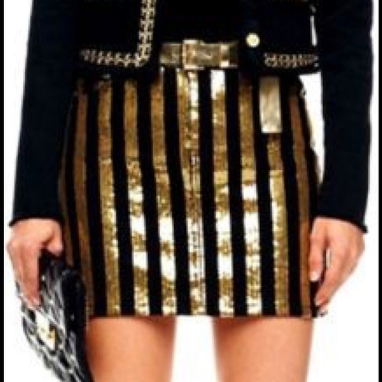 Michael Kors blk denim/sequin skirt