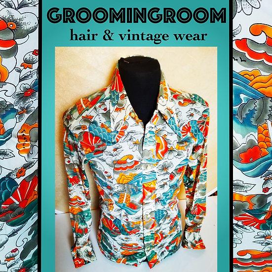 70s nylon Mr Mann koi design style shirt
