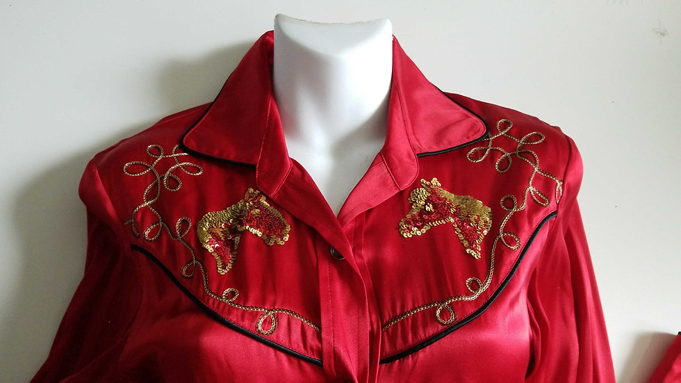 *Misplaced Cowboy 90's vintage silk western blouse