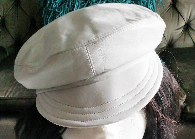 Kokin white leather newsboy adjustable hat