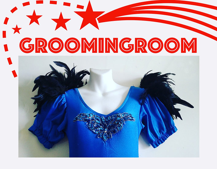 80s Blue vintage dress repurposed and adorned with feathers