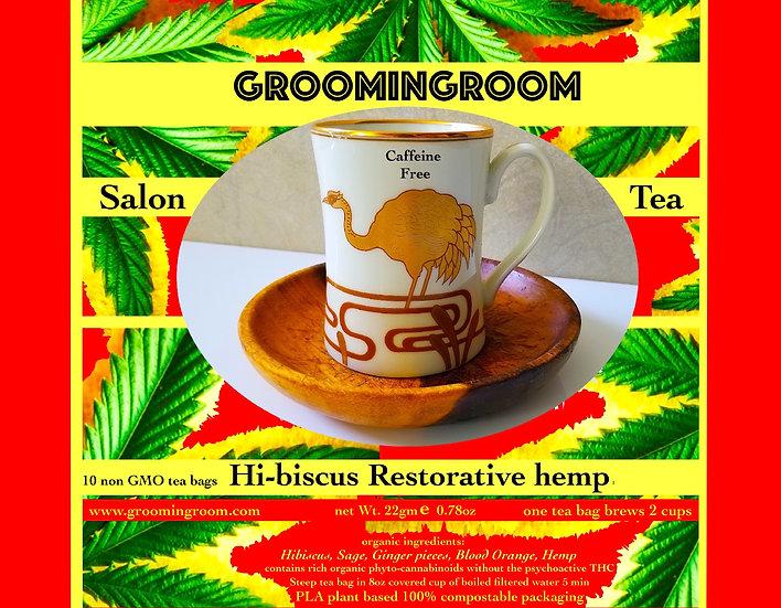 Hibiscus Tea enriched w/organic hemp Sage blood orange ginger DeCaf