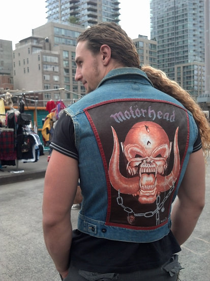 Denim vest by wrangler with Motorhead hand painted  Original 1980's Rocker