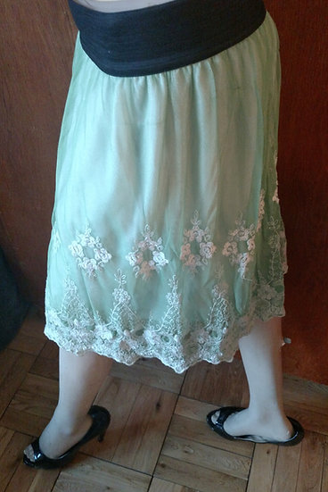Lace skirt seafoam green washed hand dyed
