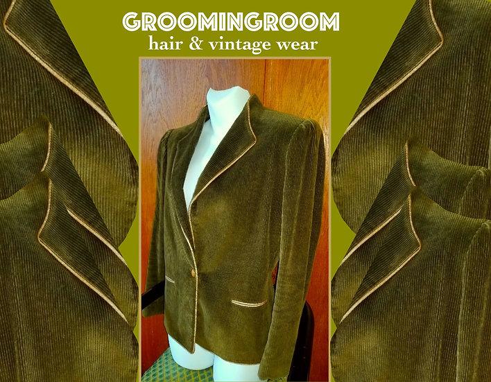 Sasson olive green courderoy khaki 80s blazer