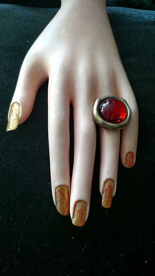 Vintage Gold tone large cocktail ring Paris artisan designer