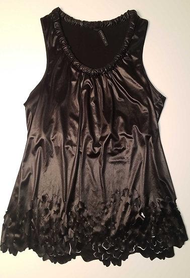 Poleci Laser cut scoop neck blouse is high polished liquid black cotton