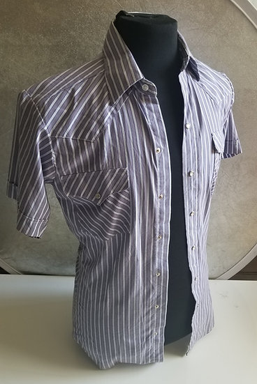 Vintage men's Panhandle Slim made in USA Light lavender striped white short slee