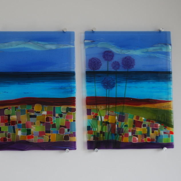 Bedroom wall panel triptych