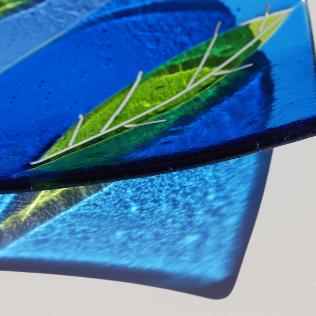 Lime and Electric blue leaf dish